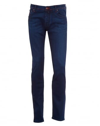 Mens Jeans, Red Stitch Ink Blue Slim Fit Denim