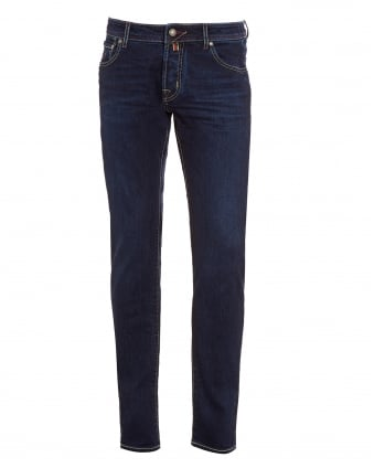 Mens Jeans, Slim Fit Blue Wash Contrast Stitch Denim