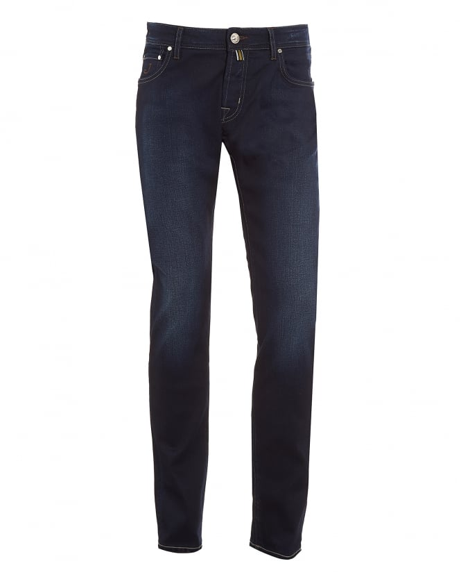 Jacob Cohen Mens Jeans, Slim Fit Dark Blue Wash Faded Denim