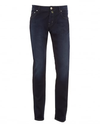 Mens Jeans, Slim Fit Dark Blue Wash Faded Denim