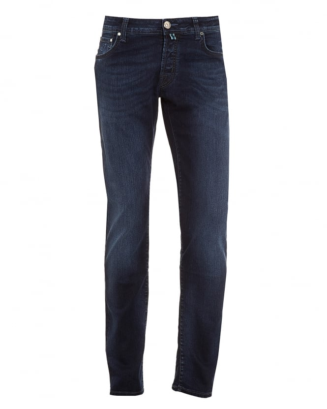 Jacob Cohen Mens Jeans, Slim Fit Faded Indigo Blue Wash Denim