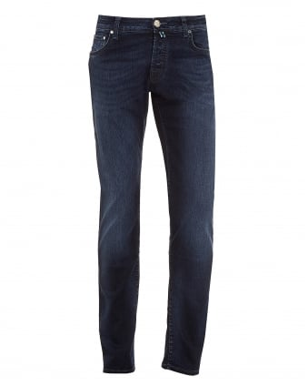 Mens Jeans, Slim Fit Faded Indigo Blue Wash Denim