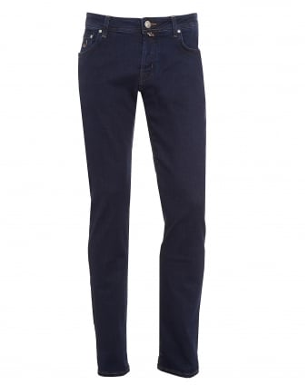 Mens Jeans, Slim Fit Navy Blue Wash Contrast Stitch Denim