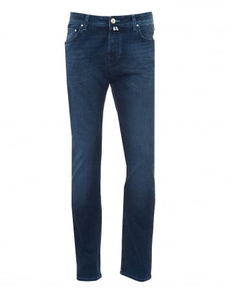 Mens Mid Cross Jeans, Electric Blue Stitching Denim