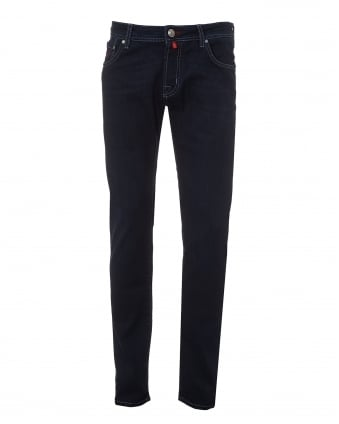 Mens Sky Stitched Jeans, Dark Clean Slim Fit Denim