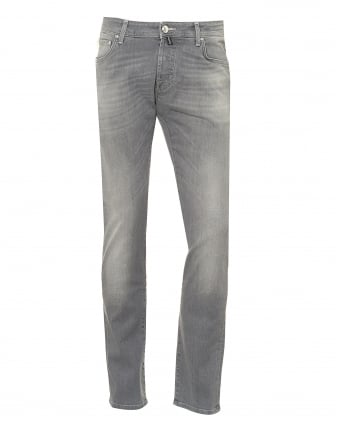 Mens Slight Fade Whisker Jeans, White Stitching Grey Denim