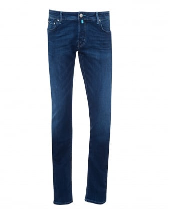 Mens Stone Badge Jeans, Mid Wash Light Navy Denim