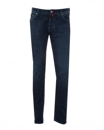 Mens Whiskered Cross Hatch Jeans, Slim Fit Denim