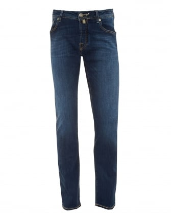 Mens Whiskered Jeans, Cross Hatch Slim Fit Mid Wash Denim