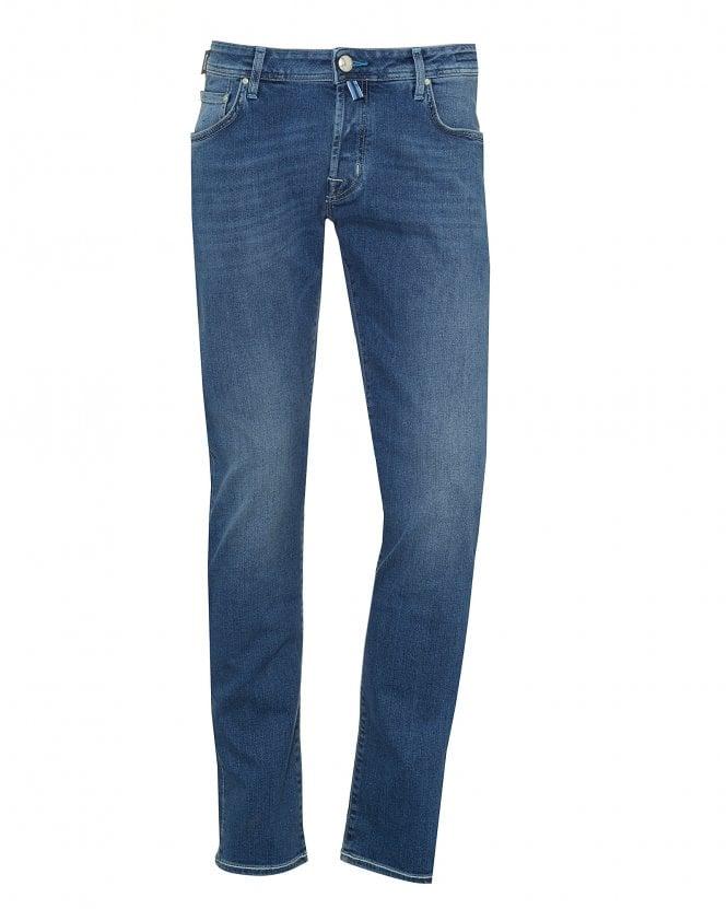 Jacob Cohen Mens White Patch Jeans, Slim Fit Light Blue Wash Denim