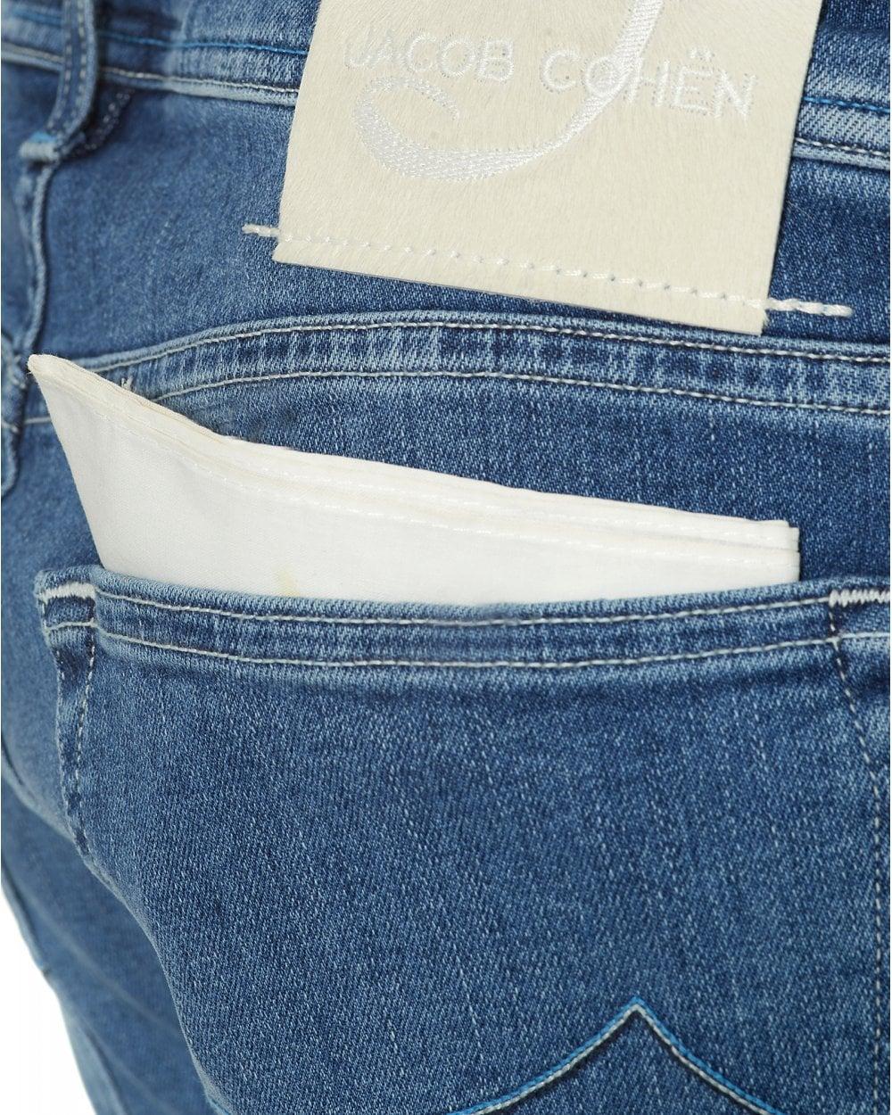 cde56fdca23311 Jacob Cohen Mens White Patch Jeans, Slim Fit Light Blue Wash Denim