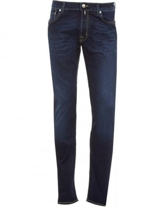 Jeans Dark Blue Yellow Stitch Slim Jean