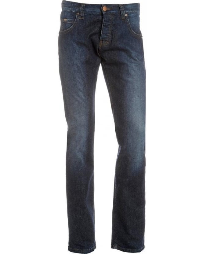 Armani Collezioni Jeans, Dark Mid Blue Cross Hatch Jean