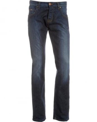 Jeans, Dark Mid Blue Cross Hatch Jean