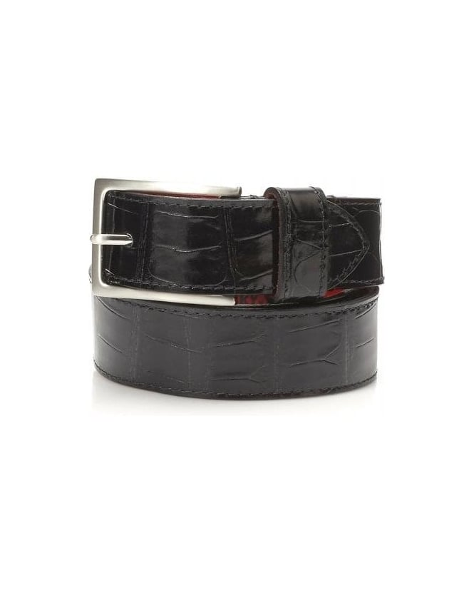 Jeffery West Shoes Dirk Jeans Crocodile Print Black Leather Belt
