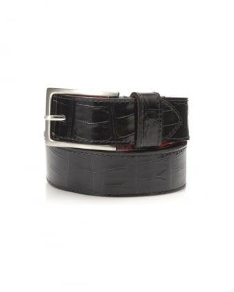 Dirk Jeans Crocodile Print Black Leather Belt