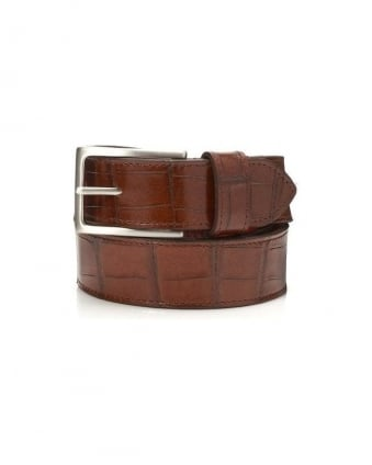 Dirk Jeans Crocodile Print Tan Leather Belt