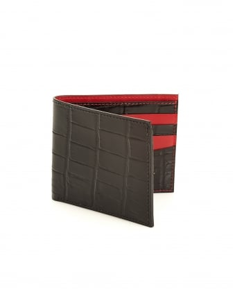 Mens Billfold, Crocodile Print Black Leather Wallet