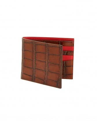 Mens Billfold, Crocodile Print Brown Leather Wallet