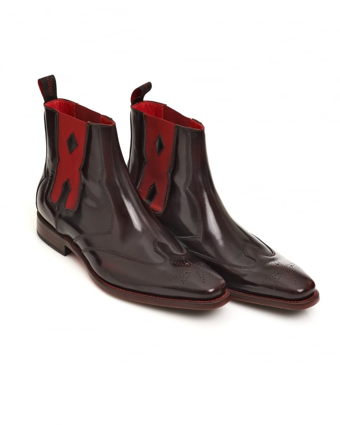 Jeffery West Shoes Mens Coffin Hunger Hi-Shine Mahogany Chelsea Boots
