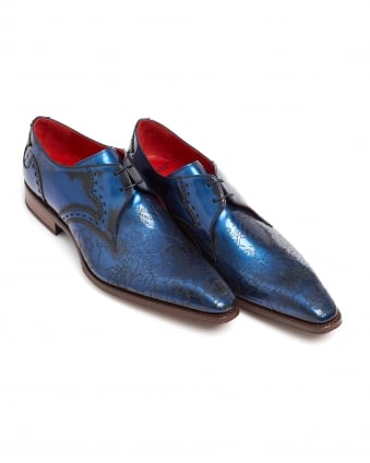 Mens Derby Shoes, Tattoo Engraved Front Book Blue Shoes