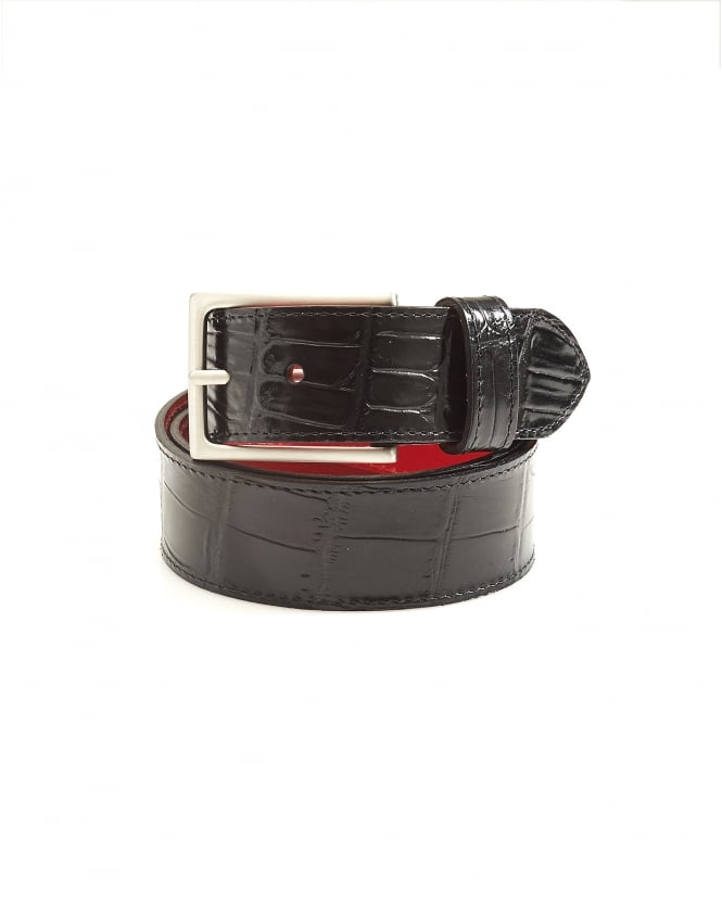 Jeffery West Shoes Mens Dirk Crocodile Print Black Leather Belt