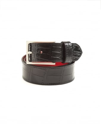 Mens Dirk Crocodile Print Black Leather Belt