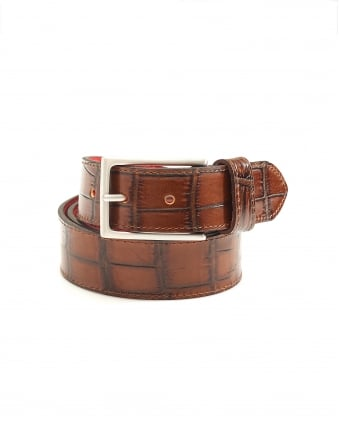Mens Dirk Crocodile Print Brown Leather Belt