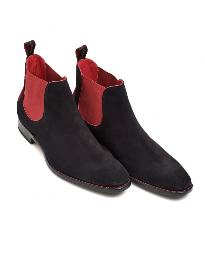 Jeffery West Shoes Mens Horror Show Black Suede Chelsea Boots