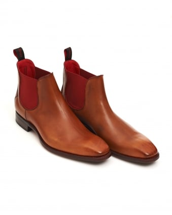 Mens Horror Show Tan Leather Chelsea Boots