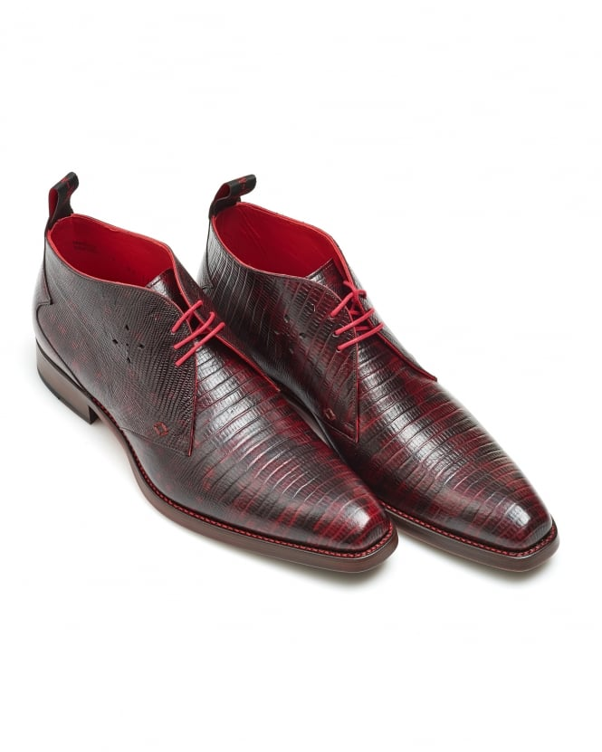 Jeffery West Shoes Mens Mazuka Tejus Lizard Look Bordeaux Chukka Boots