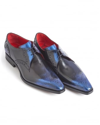 Mens Moon Brogues, Two Hole Navy Blue Shoes