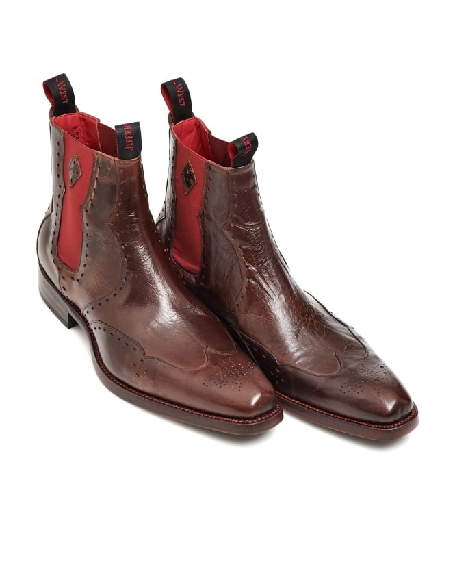 Jeffery West Shoes Mens Novikov Mad Dog Brown Polished Leather Chelsea Boots