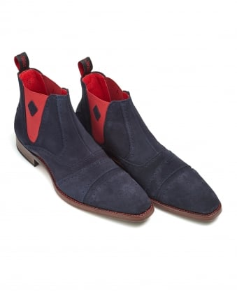 Mens Point Dexter Navy Suede Crooked Chelsea Boots