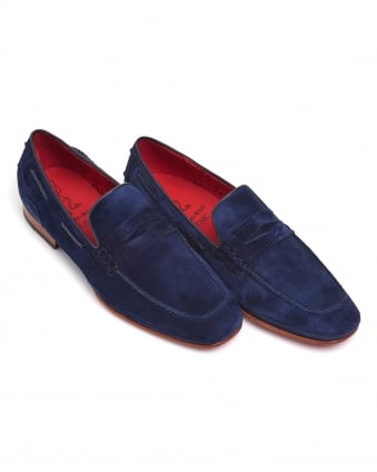 Mens San Juan Loafers, Navy Blue Suede Shoes