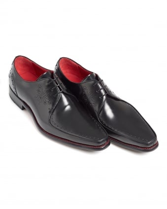 Mens Surreal Melly Apron Polished Black Derby Shoes
