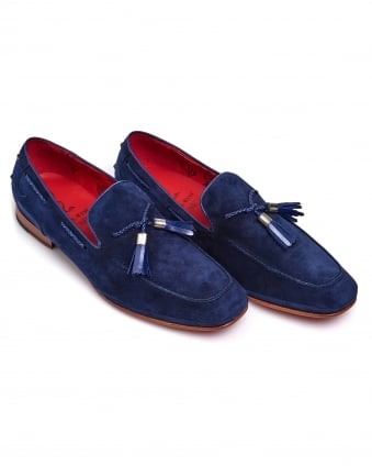 Mens Tassel Loafer, Red Sole Navy Blue Shoes
