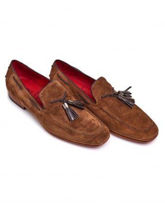 Mens Tassel Loafer, Red Sole Stone Brown Shoes