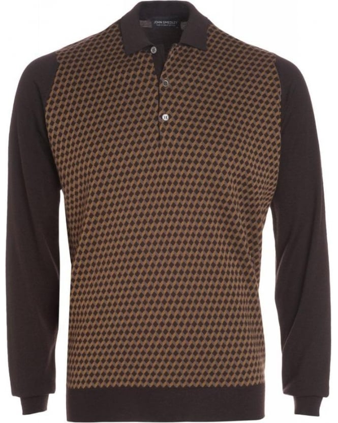 John Smedley Espresso Rectangle Pattern Polo Shirt