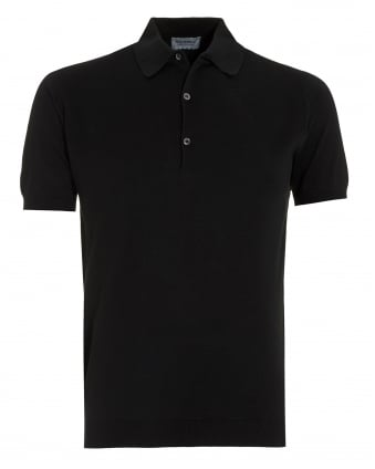 Mens Adrian Black Sea Island Cotton Polo Shirt