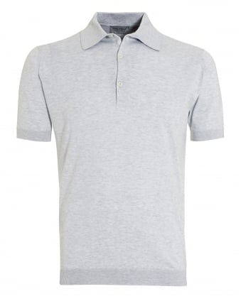 Mens Adrian Feather Grey Sea Island Cotton Polo Shirt