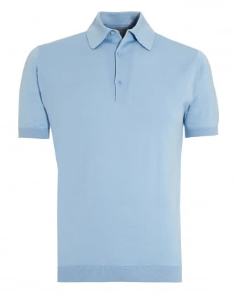 Mens Adrian Hayward Blue Sea Island Cotton Polo Shirt