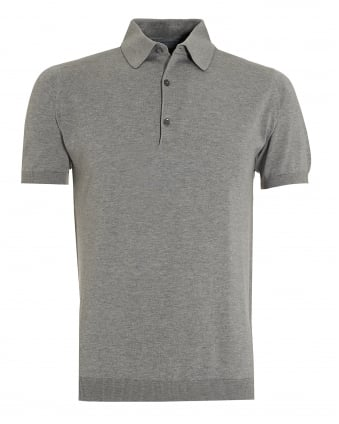 Mens Adrian Silver Grey Sea Island Cotton Polo Shirt