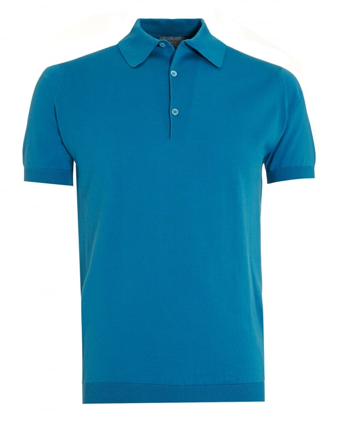 John Smedley Mens Adrian Skyline Blue Sea Island Cotton Polo Shirt