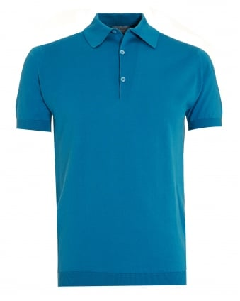 Mens Adrian Skyline Blue Sea Island Cotton Polo Shirt