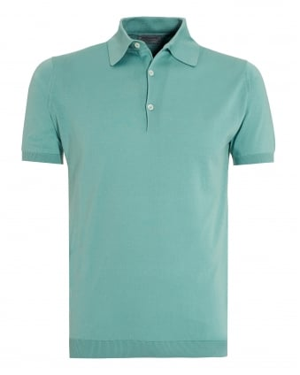 Mens Adrian Terill Green Sea Island Cotton Polo Shirt