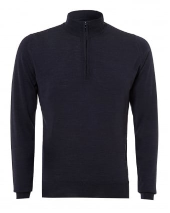 Mens Barrow Knit, Quarter Zip Hepburn Smoke Jumper