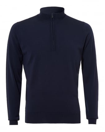 Mens Barrow Knit, Quarter Zip Midnight Navy Jumper