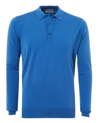 Mens Belper Polo Shirt, Long Sleeve Derwent Blue Polo