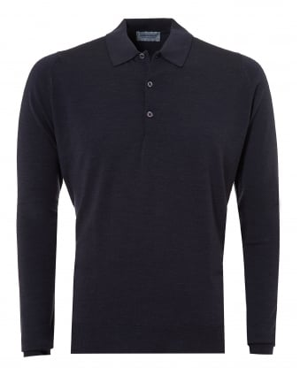 Mens Belper Polo Shirt, Long Sleeve Hepburn Smoke Polo
